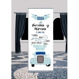 Roll up de Boda con dibujo y texto personalizado